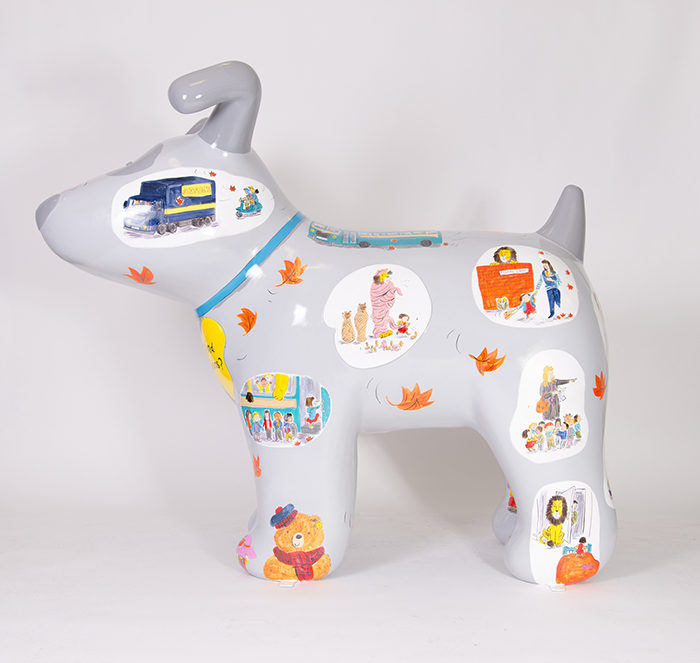 Helen Stephens Hiding Lions Snowdog right side profile view