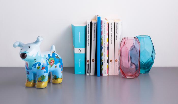 Snowdog under the Sea on a bookshelf
