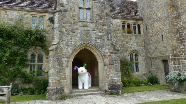 The Snowdog at Nymans in porch